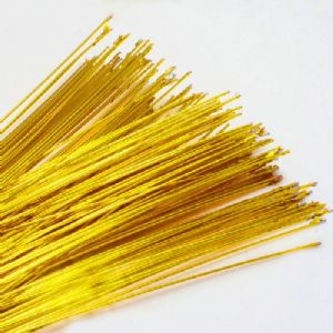 Florist wires, Gold, 0.4mm (approximate), 20 pieces, 80cm, Gauge 26, (TS029)